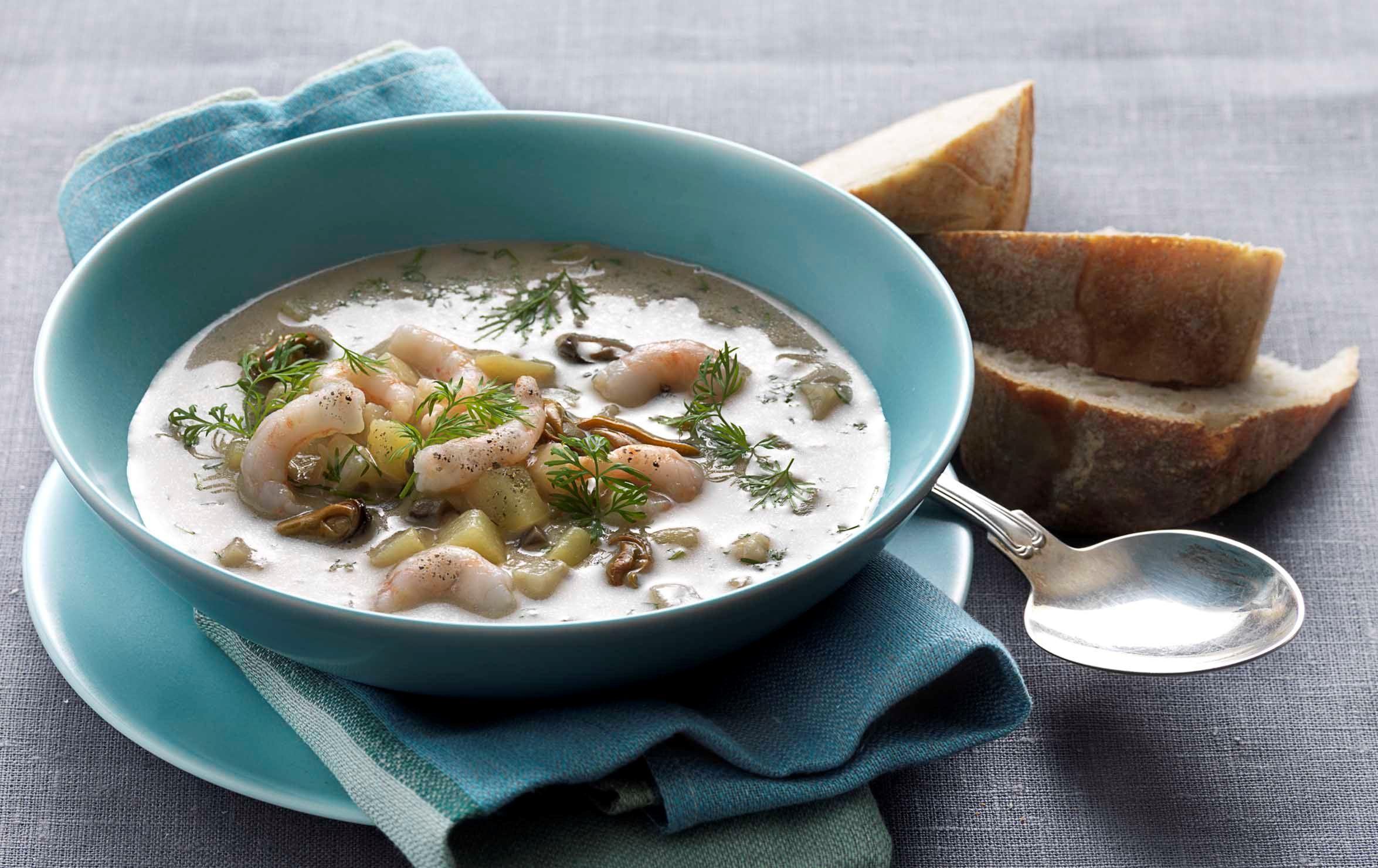 Suppe med skaldyr og rodfrugter