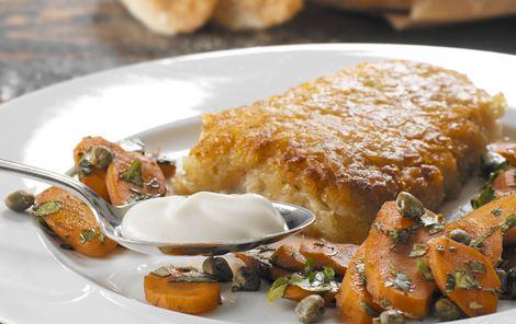 Kartoffelpaneret rødfisk