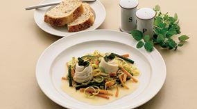 Fiskefileter og grøntsager