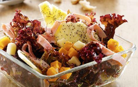 Salat med ananas og skinke