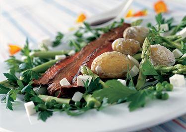 Flanksteak og saltkartofler