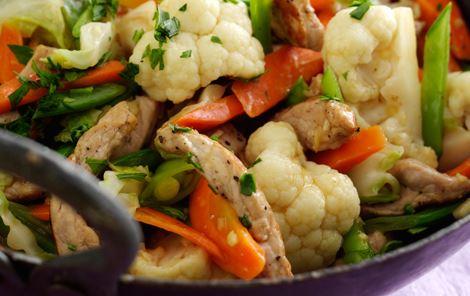 Skinkewok med sommergrønt og ris