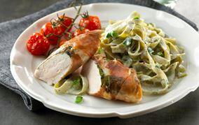 Kylling i skinke og grønt