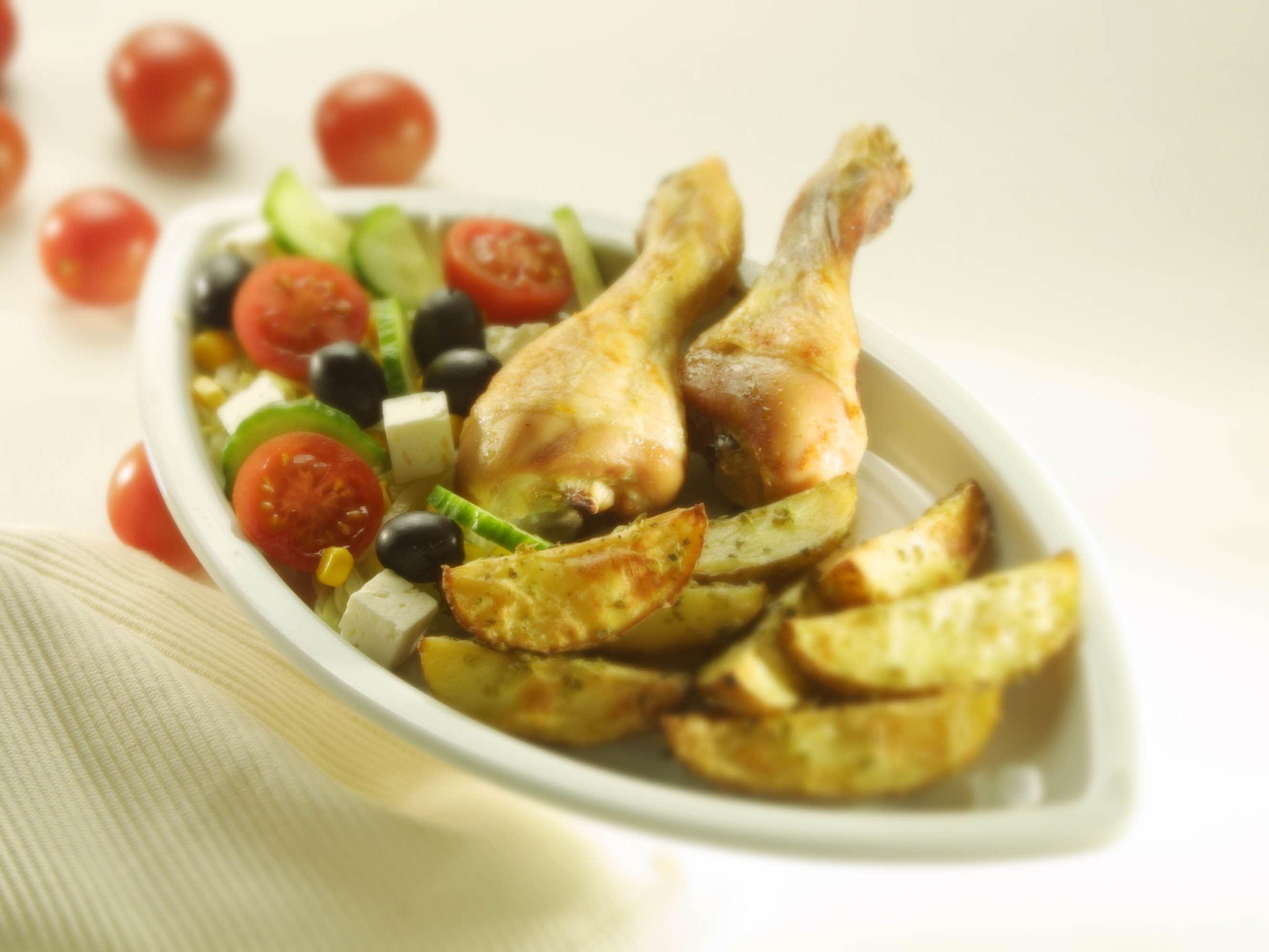 Kyllingelår med grovfritter