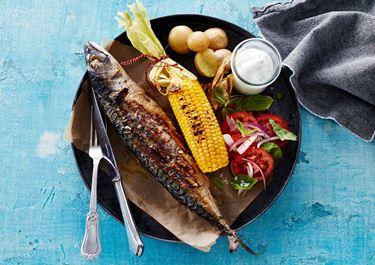 Grillstegte makreller og majskolber