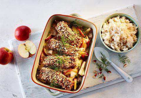 Bagt laks med jordskokker og mandelgremolata