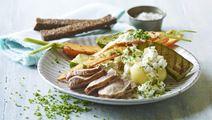 Grillede grøntsager til skinkemignon og citronhytteost