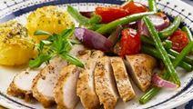 Kanaa ja rakuunaperunoita