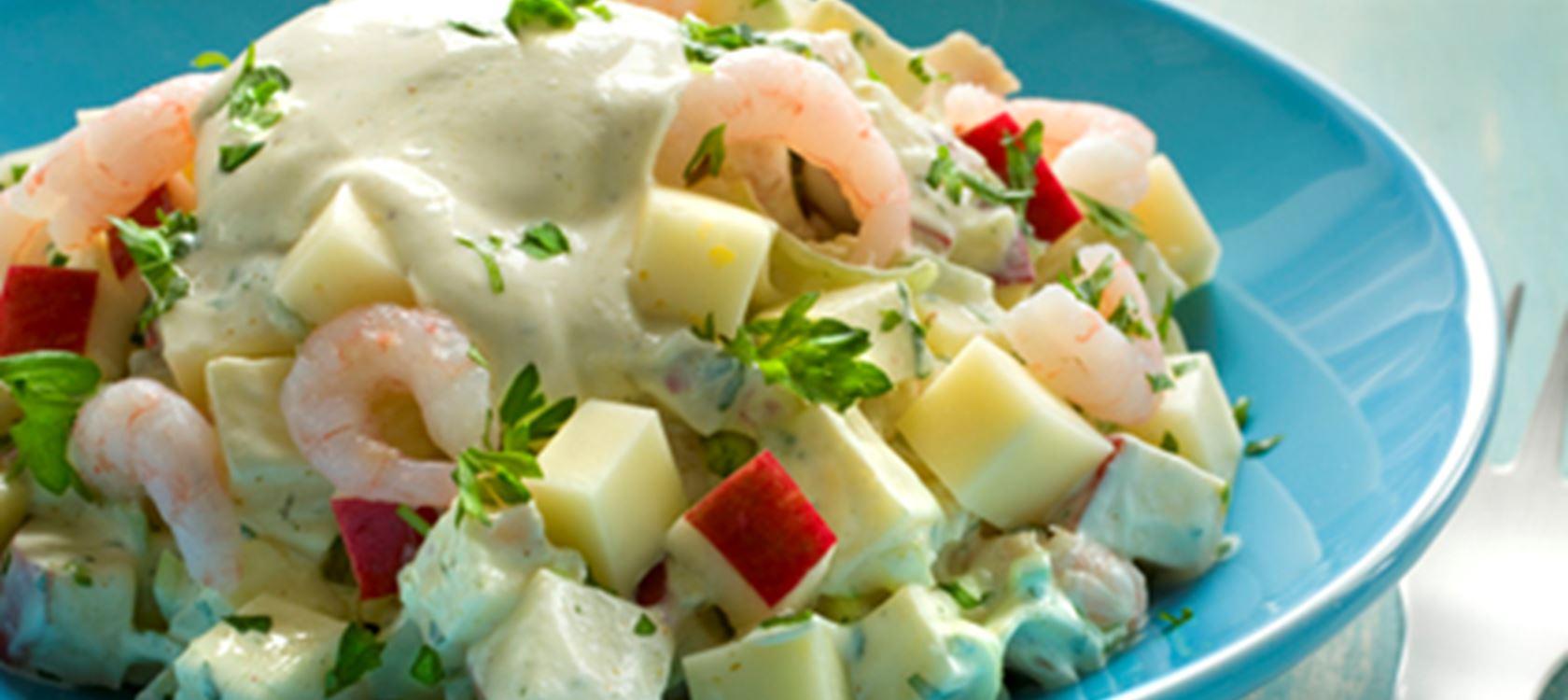 Juustoinen katkarapusalaatti
