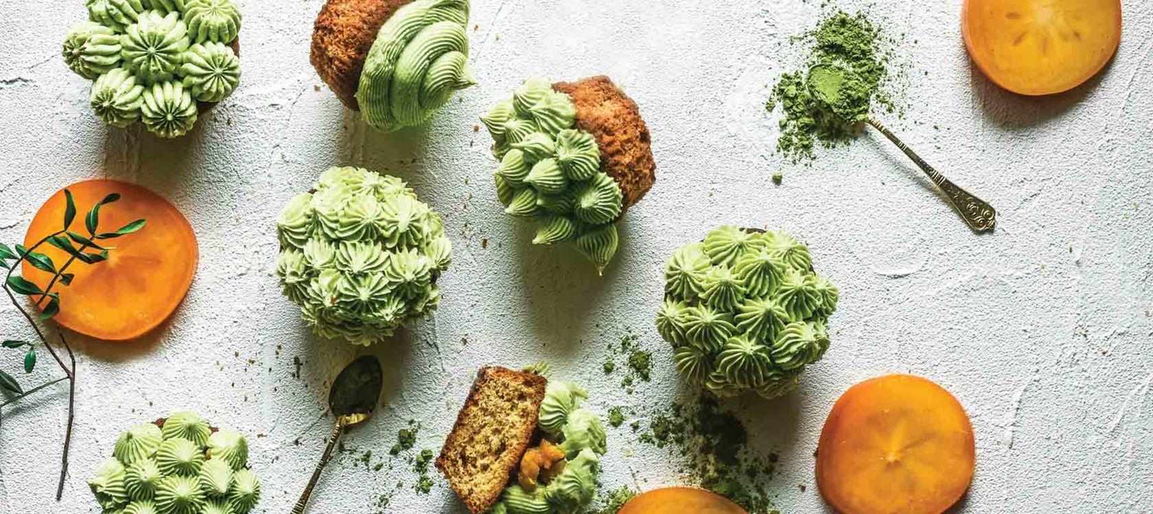 Persimon-matcha-cupcaket