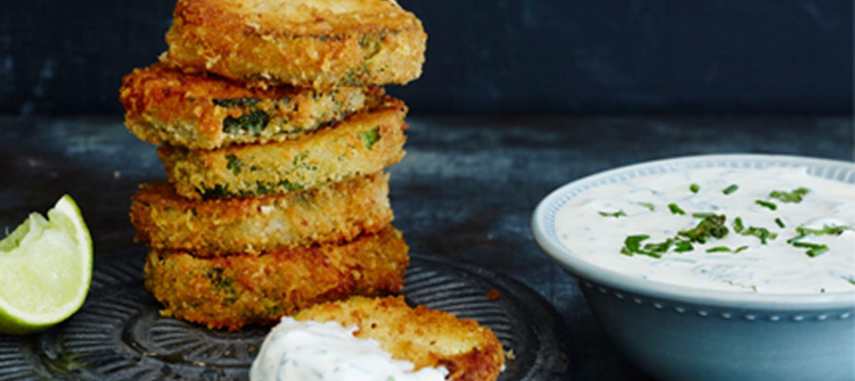 Paistetut vihreät kurpitsat ja lime-minttu Crème fraîche