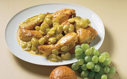 Kanaa ja viinirypäleitä