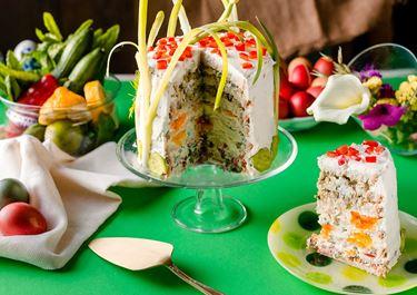 Αλμυρή τούρτα - Μπόμπα - πασχαλινή, με τυρί κρέμα, αυγά & μελιτζανοσαλάτα