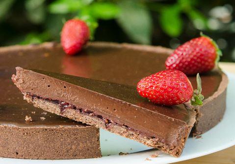 Τάρτα με σοκολάτα και φράουλα