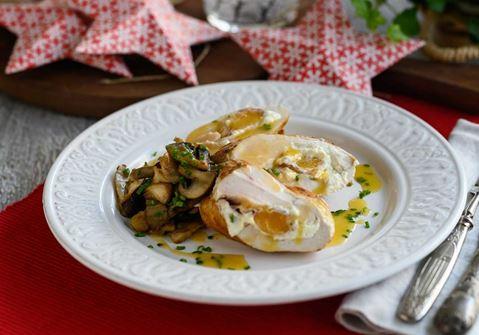 Κοτόπουλο γεμιστό με προσούτο, φρέσκο τυρί κρέμα & μανιτάρια