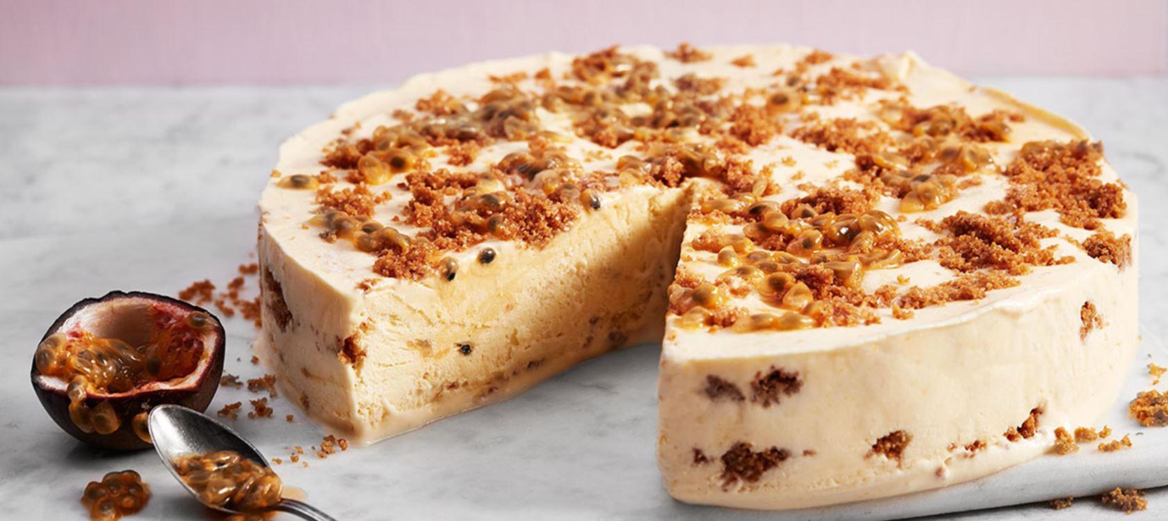 Παγωμένο cheesecake με μάνγκο και φρούτα του πάθους