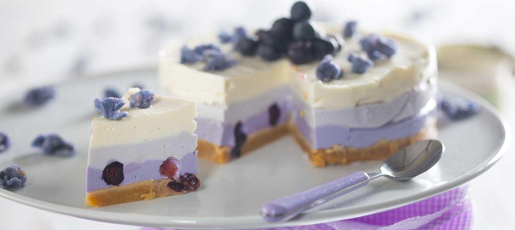 Πολύχρωμο cheesecake με μύρτιλα
