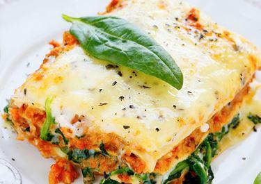 Lactosevrije lasagne met spinazie en champignons