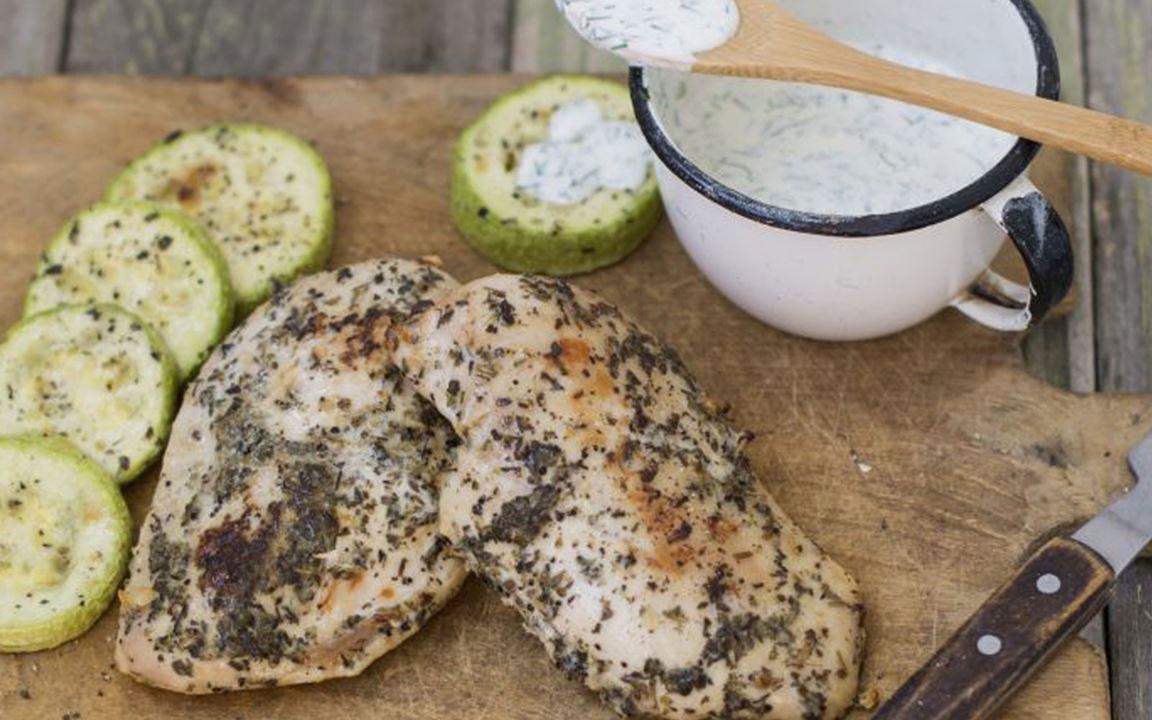 Lactosevrije griekse kipfilet met tzatziki