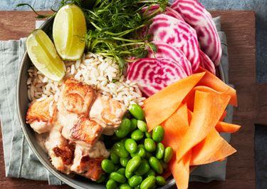 Aziatische salade met lactosevrije créme fraîche