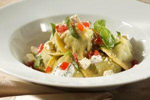 Ravioli met romige spinazie