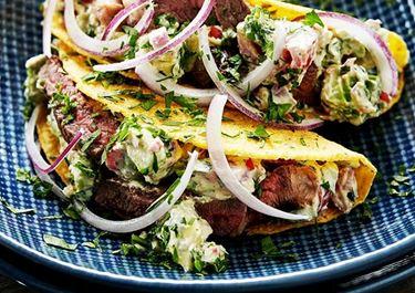 Taco med kremostsalsa