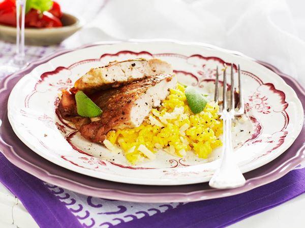 Saltimbocca på kyckling med saffransrisotto