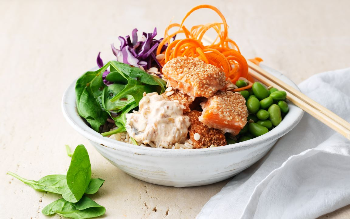 Laxbowl med kimchiyoghurt
