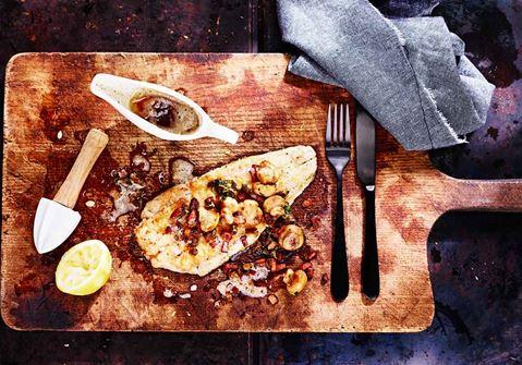 Rödtunga med citronette på brynt smör