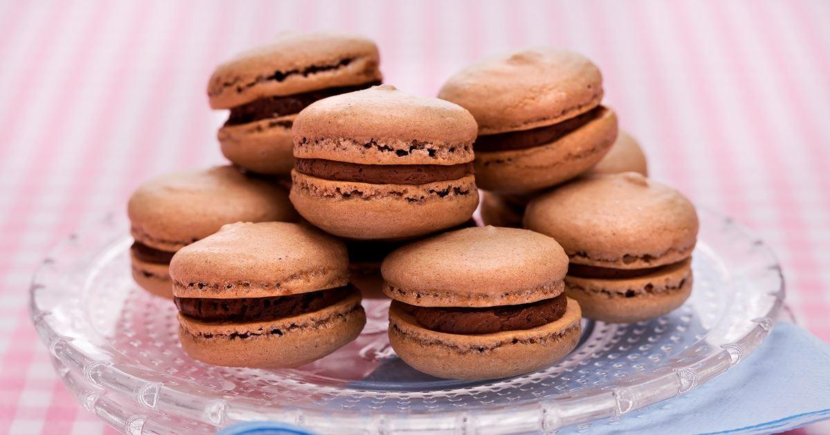 macarons recept choklad