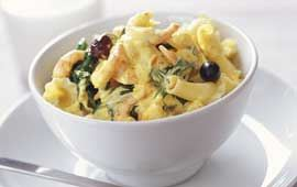 Pastasås med saffran, räkor och spenat