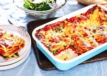 Vegetarisk lasagne med spenat och linser