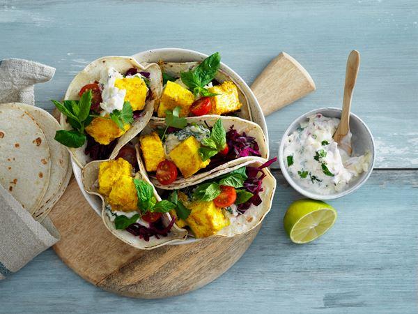 Taco med paneer och raita