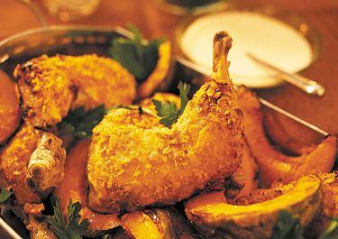 Panerad kyckling med pumpa