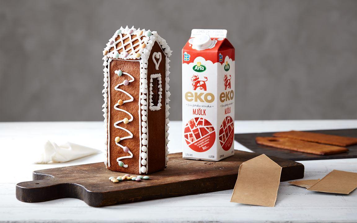 Pepparkakshus med mjölkkartong