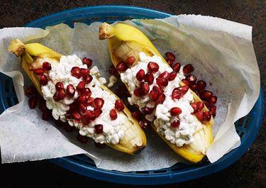 Bananbåt med cottage cheese och vanilj