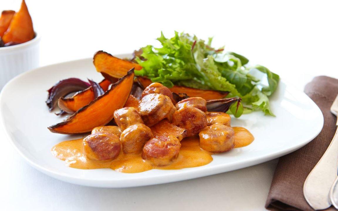 Sötpotatis med chorizosås