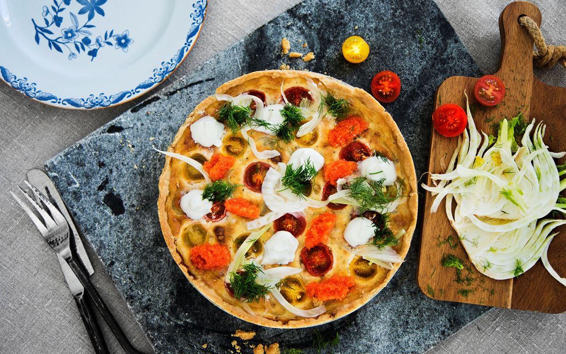 Ostpaj med tomat, fänkål och sikrom