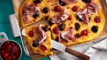 Polentapizza med kvisttomater