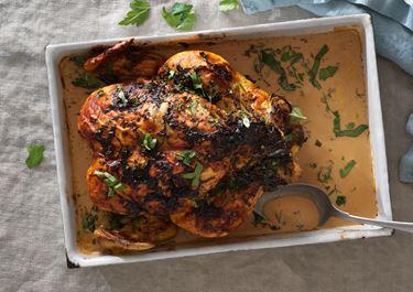 Helstekt kyckling med örter
