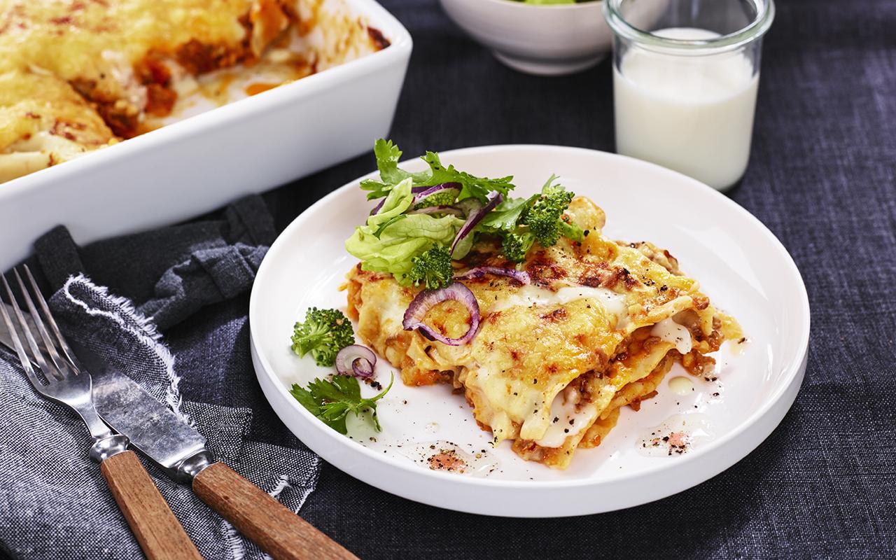 lasagne med färdig ostsås