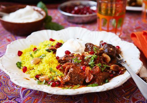 Marockansk köttgryta med granatäpple