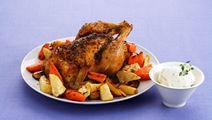 Ugnsrostad kyckling och rotfrukter