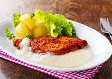 Skinkschnitzel med ostsås