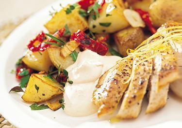 Stekt potatis med vitlök