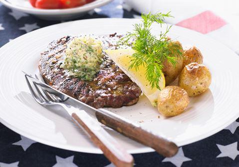 Grillad steak med dillpestosmör