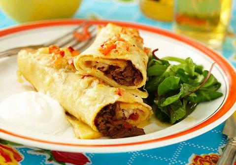 Enchiladas med beef chili