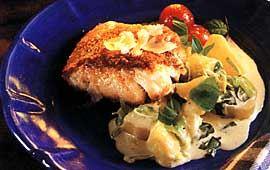 Parmesanstekt fisk med basilikapotatis