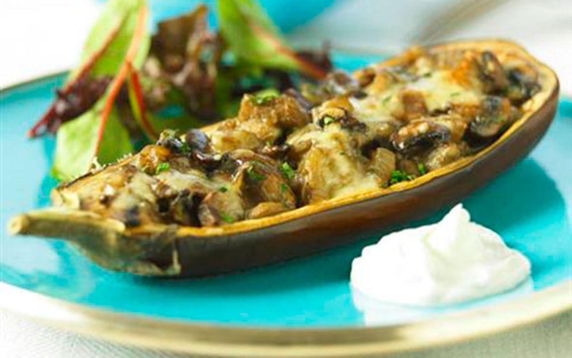 Svampfylld aubergine
