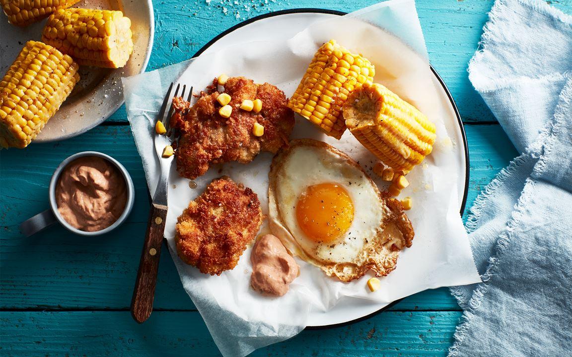 Kycklingnuggets med majs och ägg
